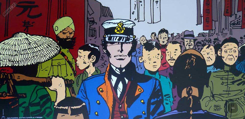 Affiche BD Corto Maltese de Hugo Pratt 'Lointain' - Illustrose