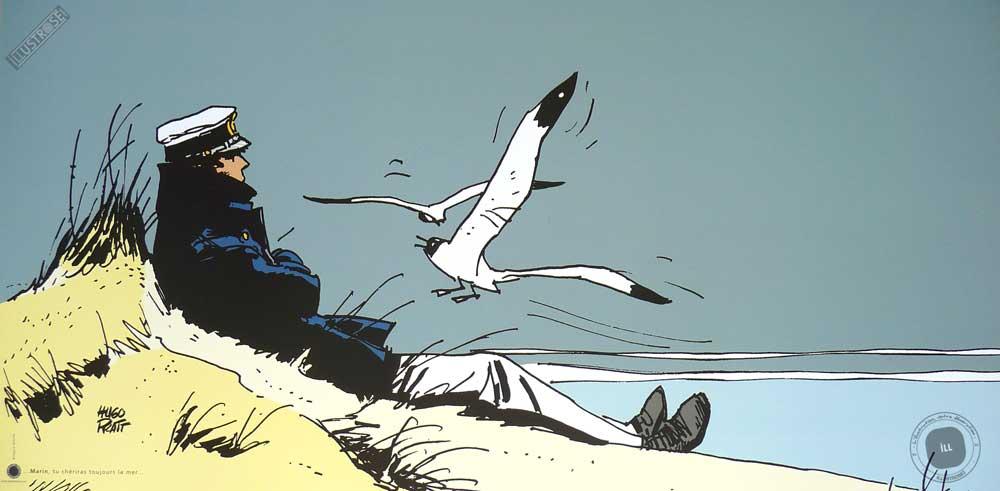 Affiche BD Corto Maltese de Hugo Pratt 'Corto Marin' - Illustrose