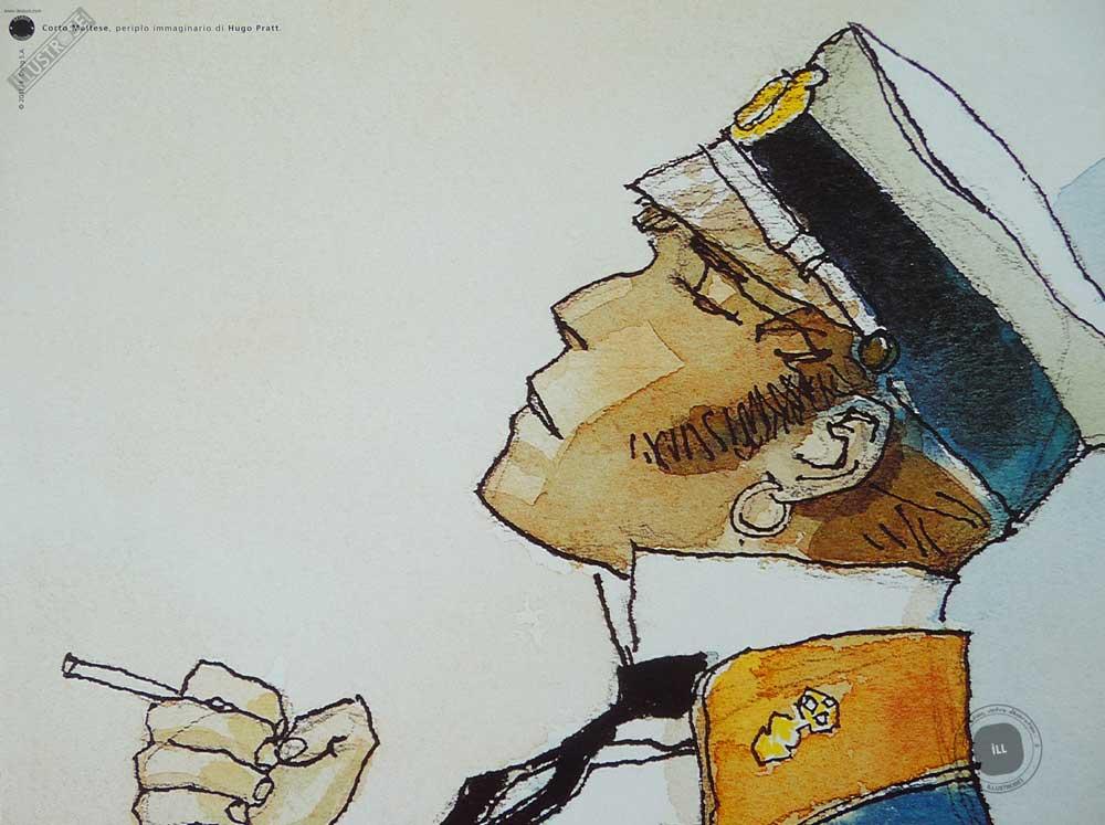 Affiche BD Corto Maltese de Hugo Pratt 'Periplo' - Illustrose