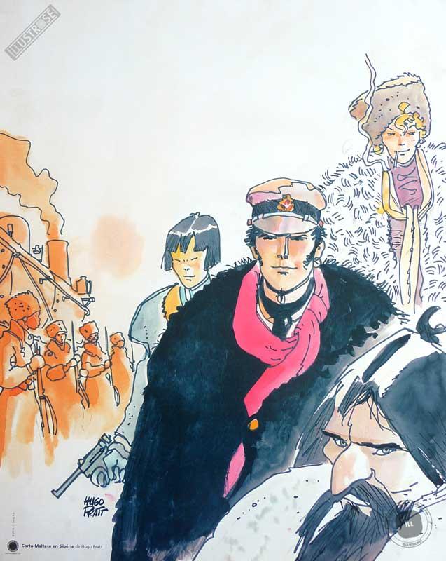 Affiche BD Corto Maltese de Hugo Pratt 'Sibérie' - Illustrose
