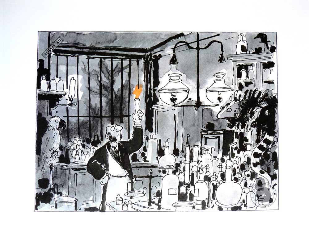 Affiche poster illustration cinéma d'animation Avril et le monde truqué de J.Tardi 'Le laboratoire' - Illustrose