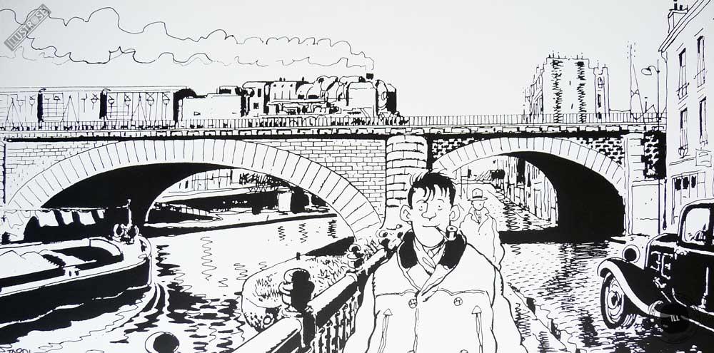 Affiche BD N&B Nestor Burma de Tardi '19è arr. de Paris' - Illustrose
