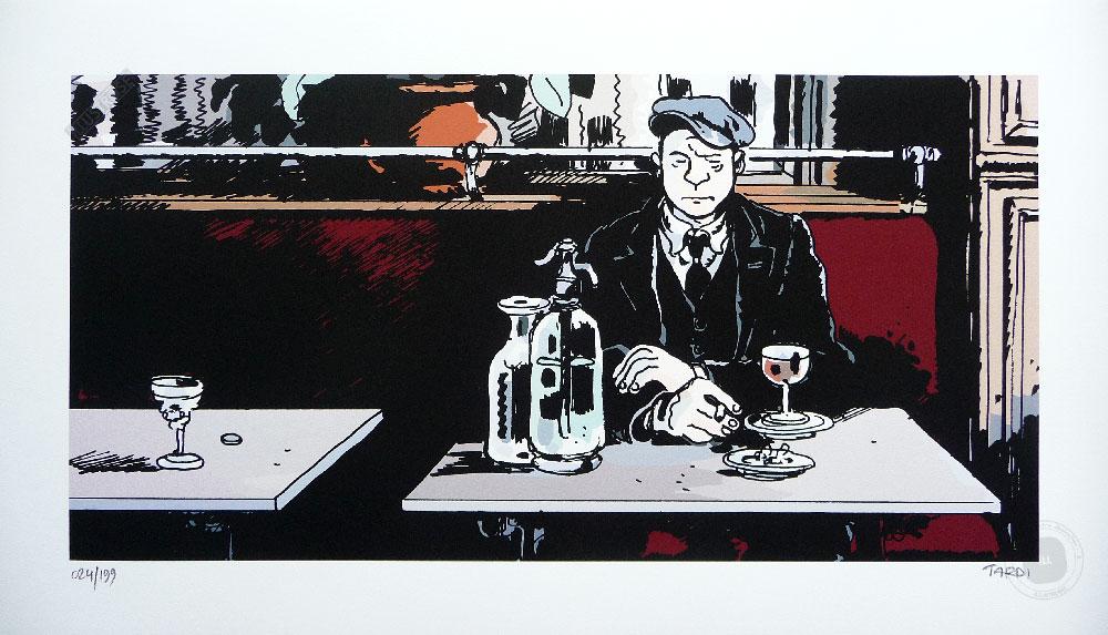 Estampe BD de Jacques Tardi '1915 au Bistrot' - Illustrose