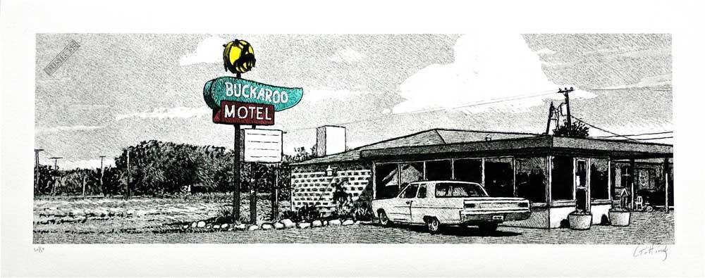 Estampe pigmentaire Jean-Claude Götting 'Motel' - Illustrose