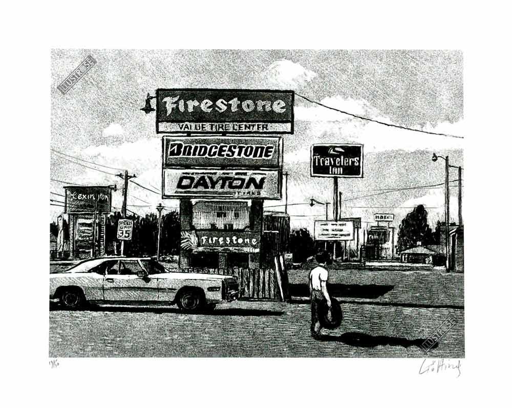 Estampe pigmentaire Jean-Claude Götting 'Route 66 Firestone' - Illustrose