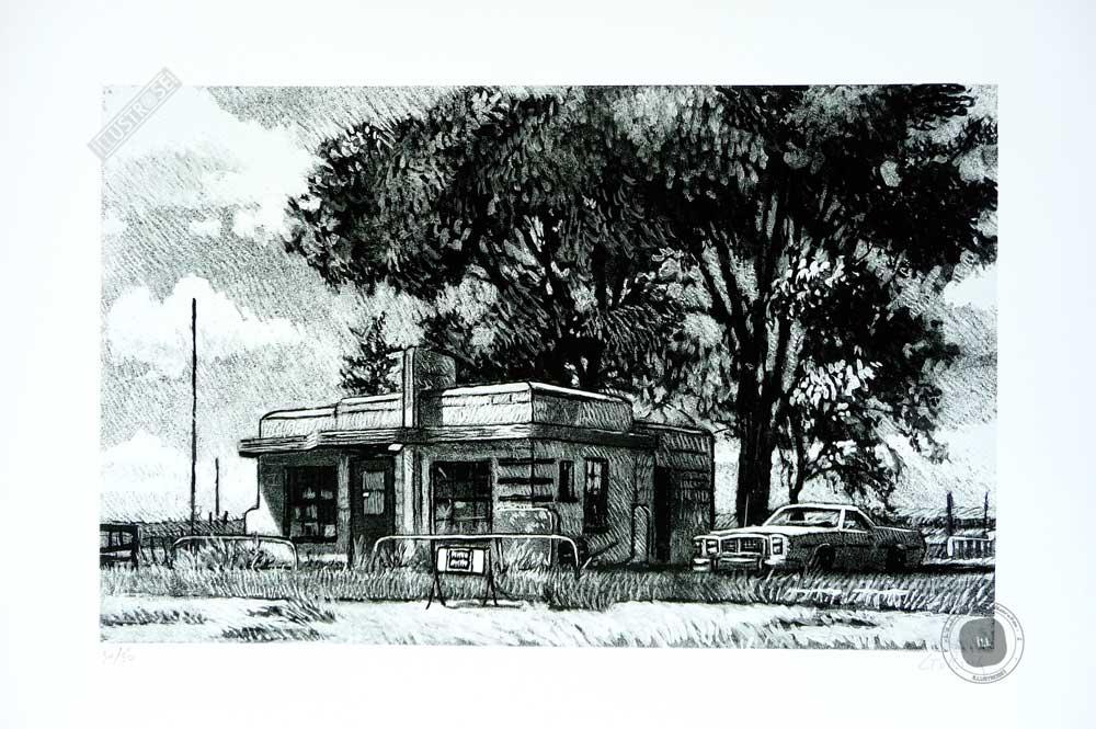 Estampe pigmentaire Jean-Claude Götting 'Route 66, Texas' - Illustrose