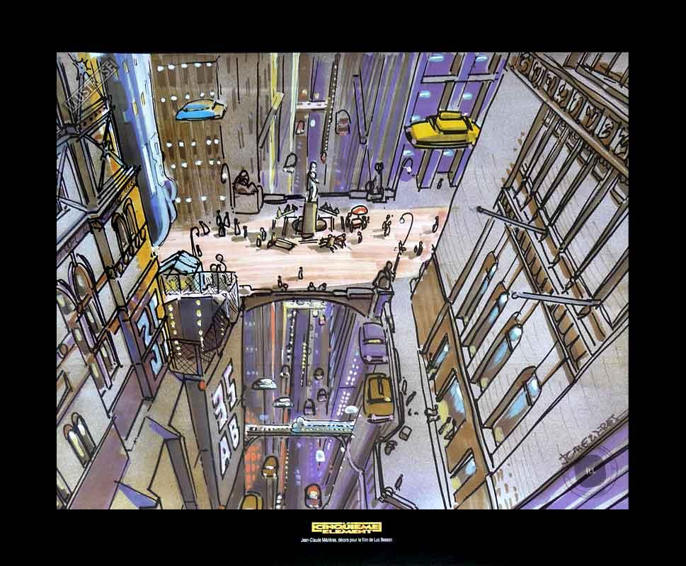Illustration Le cinquième élément Mézières 'New-York' - Illustrose