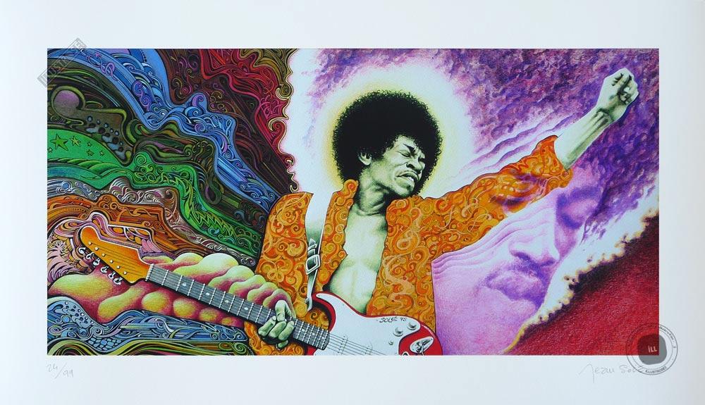 Estampe pigmentaire Jean Solé 'Jimi Hendrix' - Illustrose