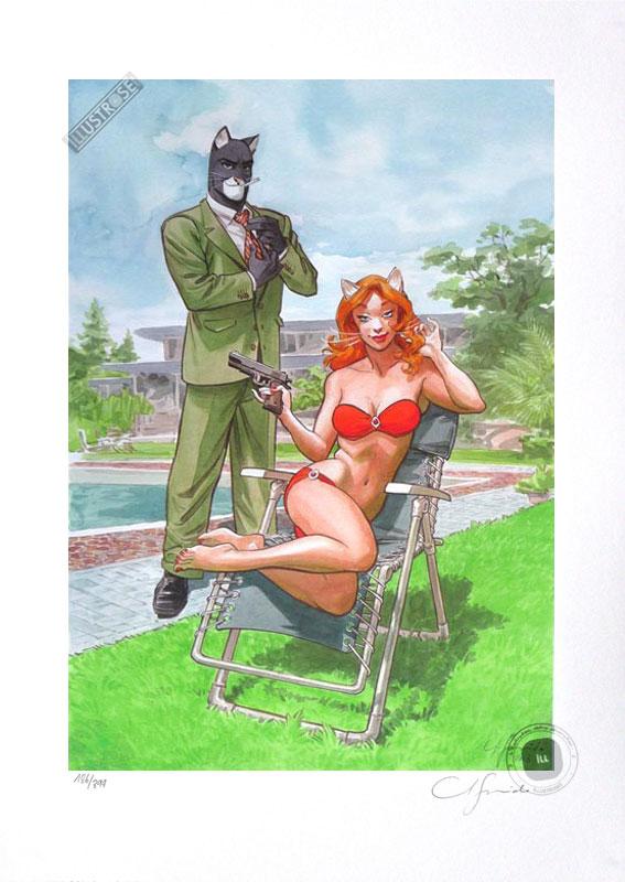 Affiche BD signée Juanjo Guarnido, Blacksad 'Bodyguard' - Illustrose