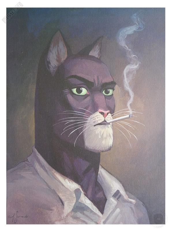 Affiche BD Blacksad de Guarnido 'Portrait de John' - Illustrose