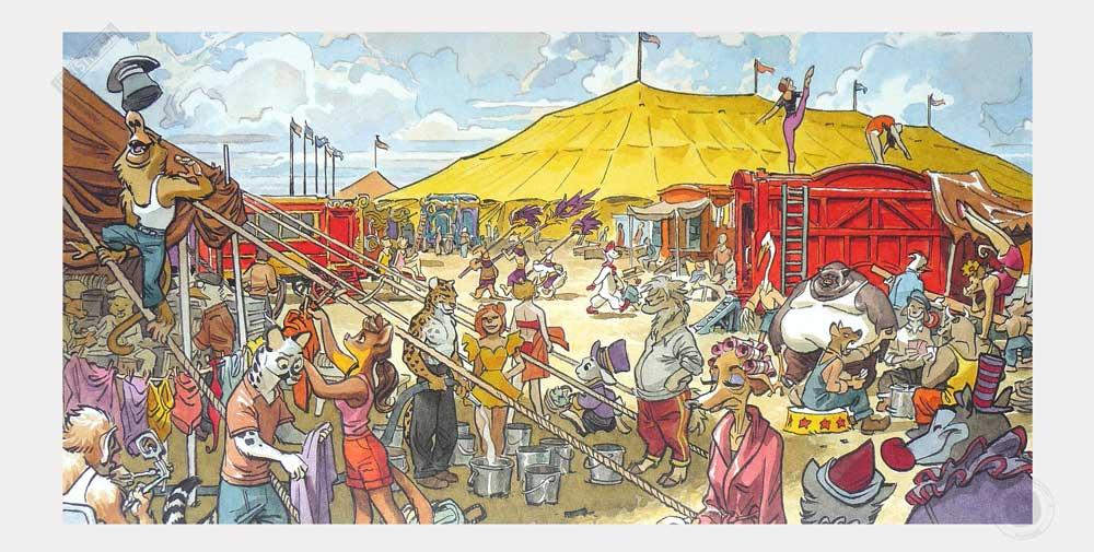 Affiche BD Blacksad de Guarnido 'Sunflower circus' - Illustrose