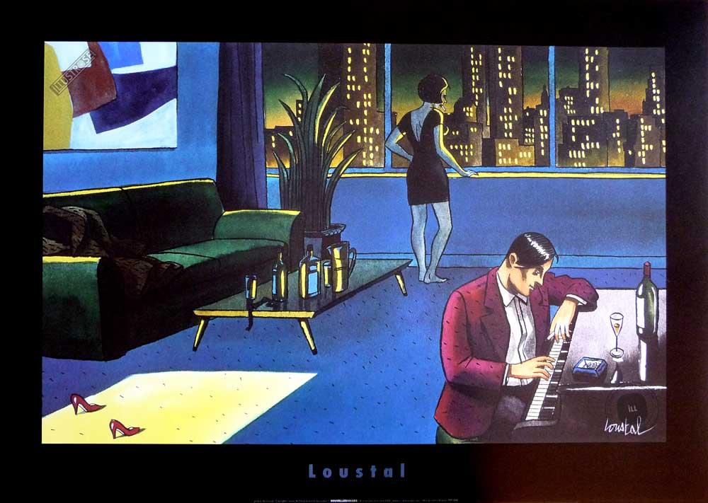 Affiche d'art illustration de Loustal 'Piano dans le salon' - Illustrose