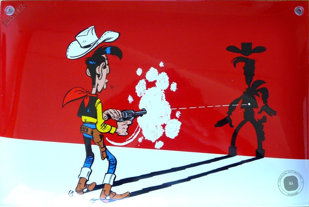 Plaque émaillée sérigraphiée para BD déco 'Lucky Luke tirant sur son ombre' de Morris - Illustrose