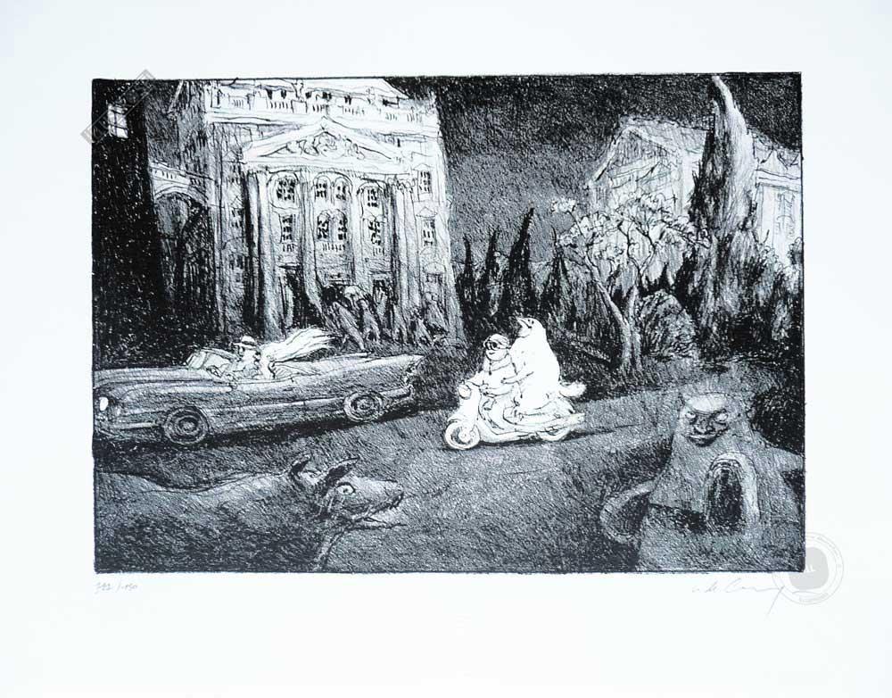 Lithographie Nicolas De Crécy 'Scooter' - Illustrose