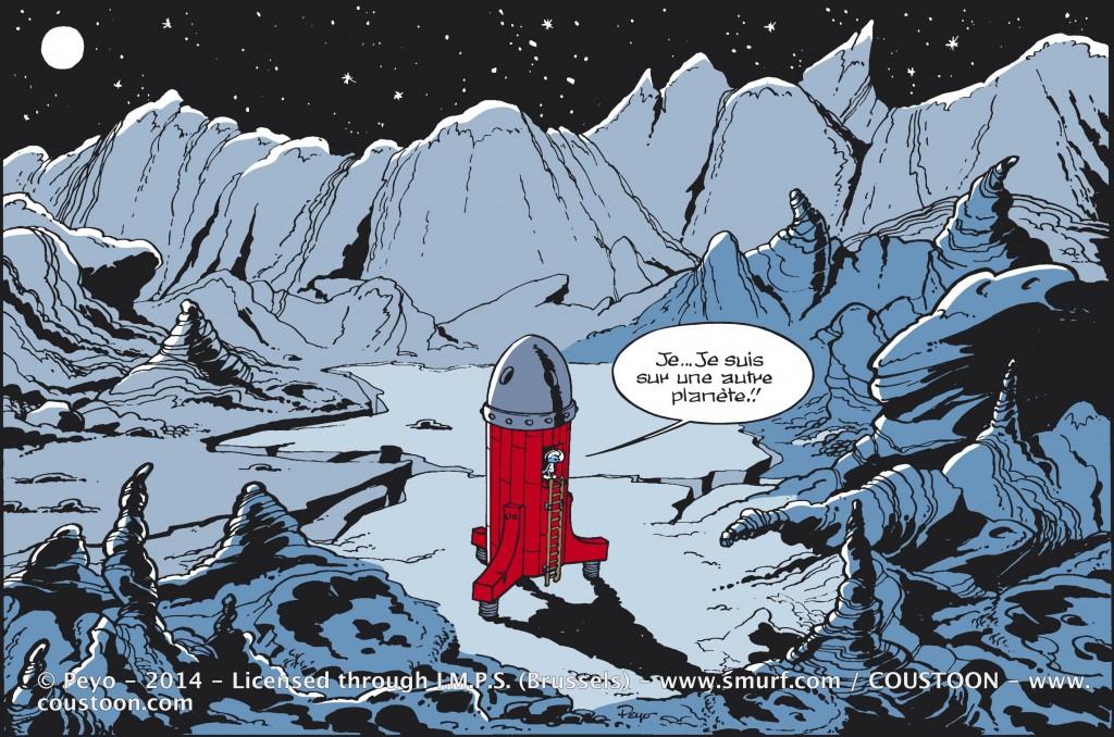 Plaque émaillée déco BD Les Schtroumpfs Cosmo de Peyo - Illustrose