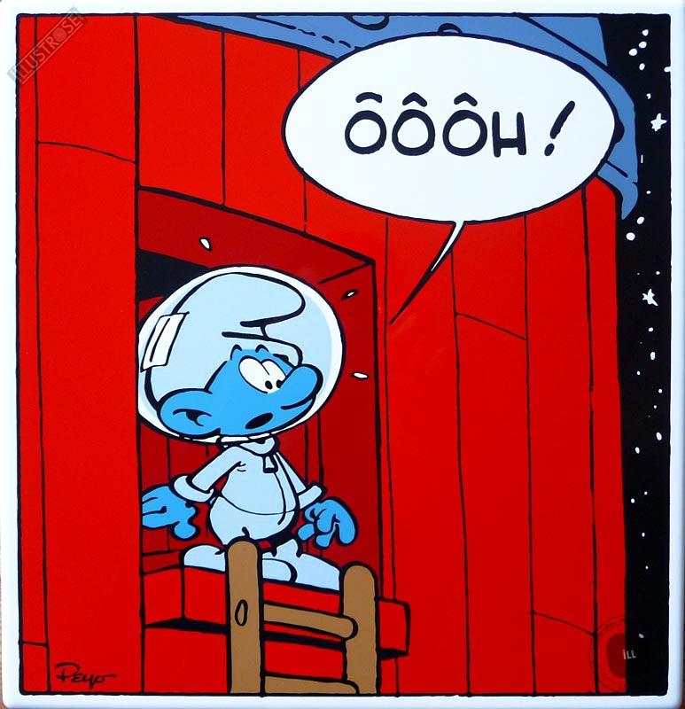 Plaque émaillée para BD déco Coustoon Cosmoschtroumpf Ôôôh de Peyo - Illustrose