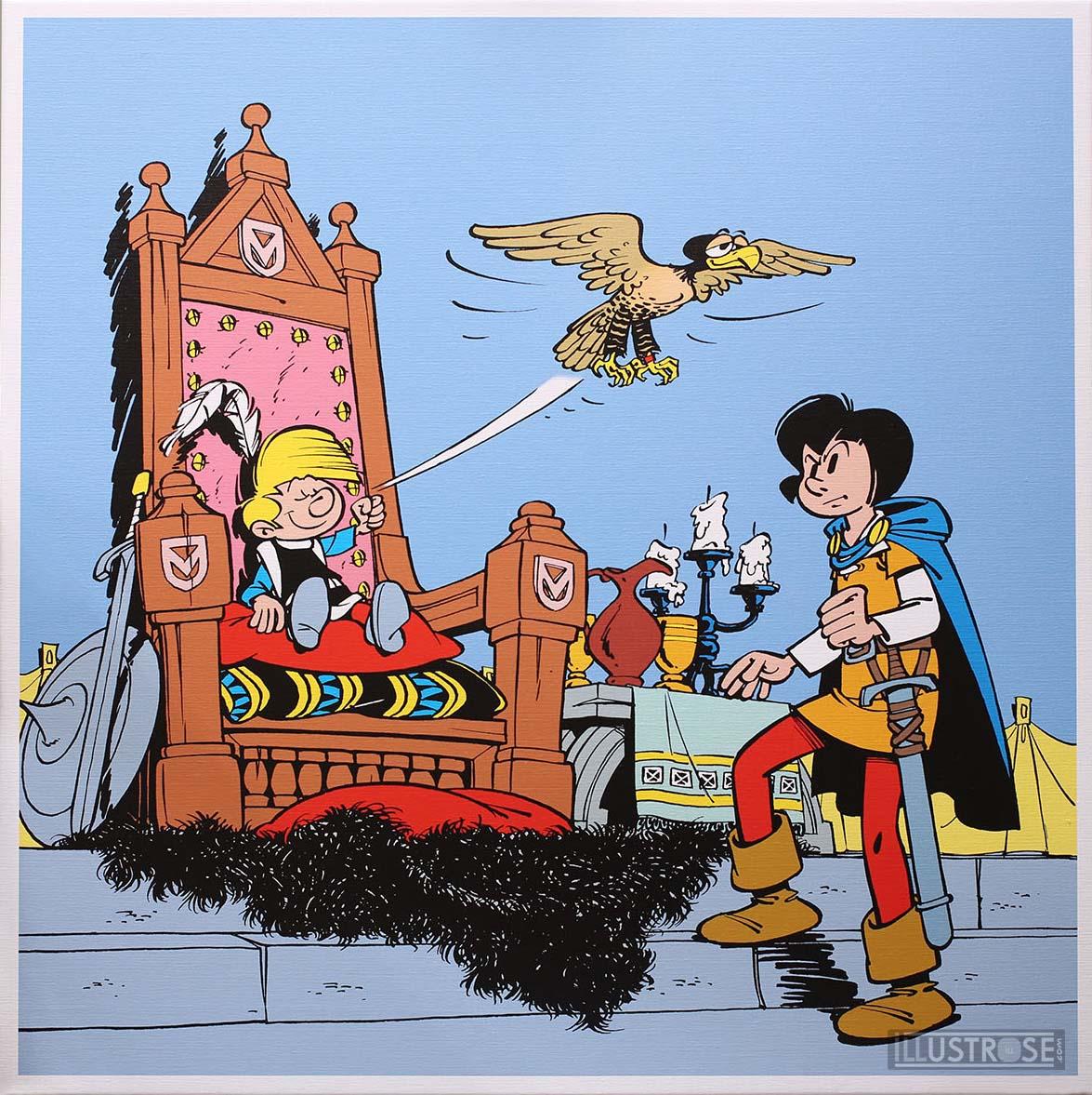 Toile BD décorative Johan et Pirlouit de Peyo 'Le sire de Montrésor' - Illustrose