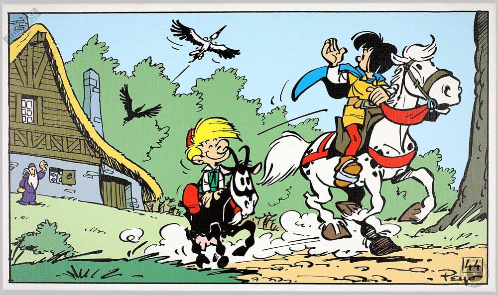 Toile BD décorative Johan et Pirlouit de Peyo 'Au revoir' - Illustrose