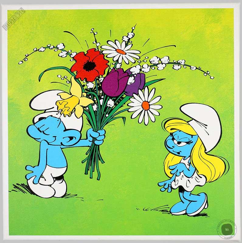 Toile BD décorative Les Schtroumpfs de Peyo 'Le bouquet' - Illustrose