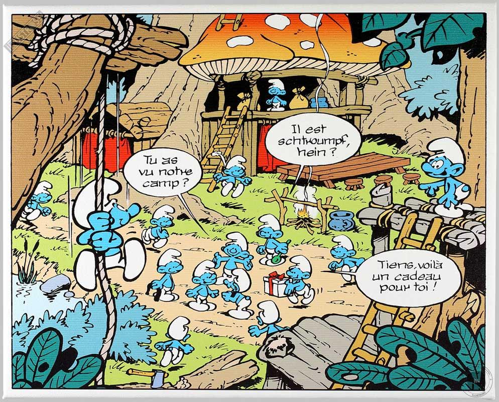 Toile BD décorative Les Schtroumpfs de Peyo 'Le camp' - Illustrose