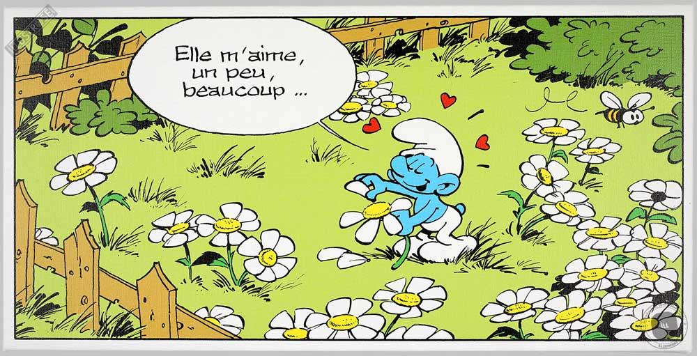 Toile BD décorative Les Schtroumpfs de Peyo 'Elle m'aime' - Illustrose