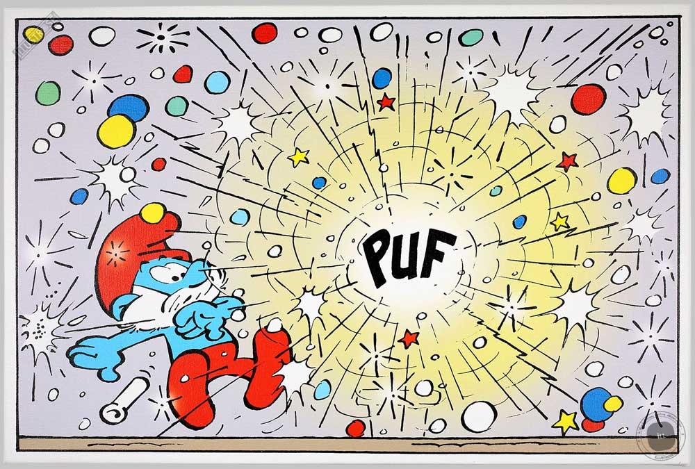 Toile BD décorative Les Schtroumpfs de Peyo 'Puf' - Illustrose