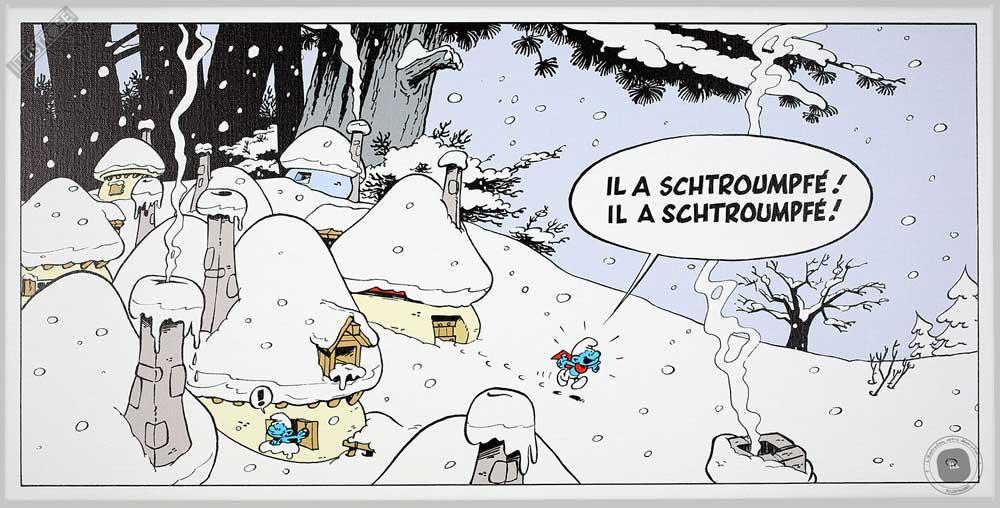 Toile BD décorative Les Schtroumpfs de Peyo 'Matin d'hiver' - Illustrose