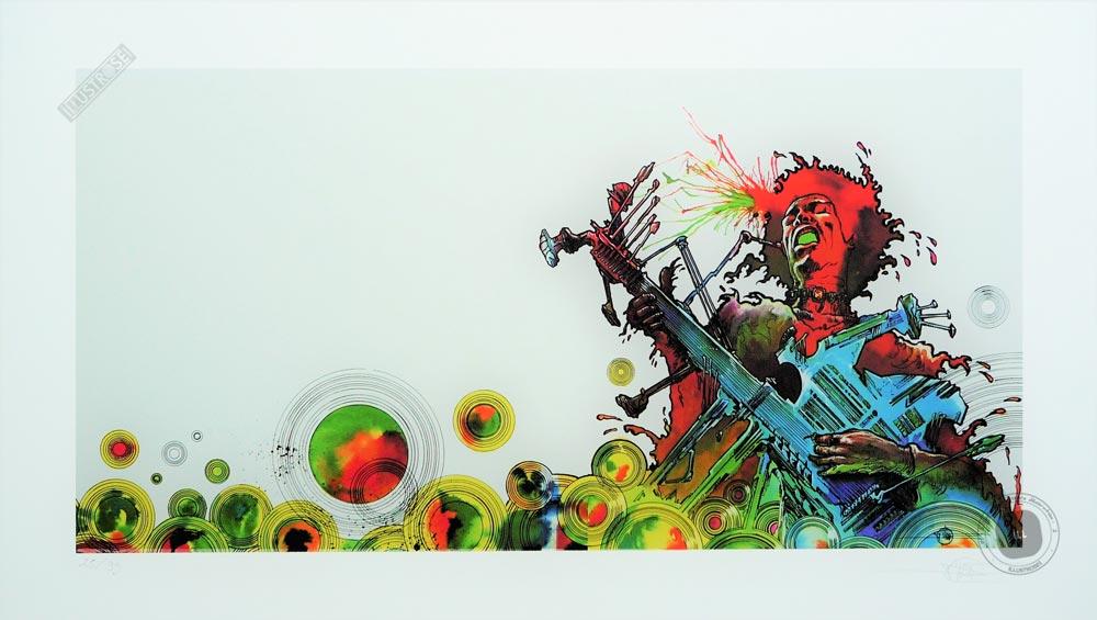 Estampe pigmentaire Philippe Druillet 'Jimi Hendrix' - Illustrose