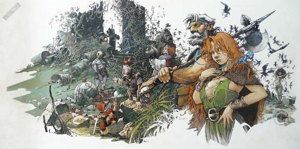 Affiche BD R.Loisel 'La quête de l'oiseau du temps' - Illustrose