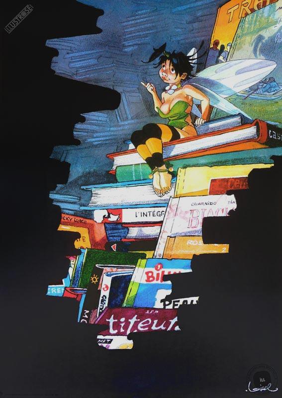 Affiche édition d'art BD Peter Pan de Régis Loisel 'Clochette et les livres' - Illustrose
