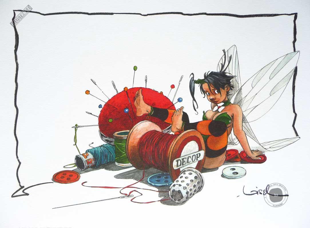 Affiche BD Peter Pan de R.Loisel 'Clochette le fil à coudre' - Illustrose