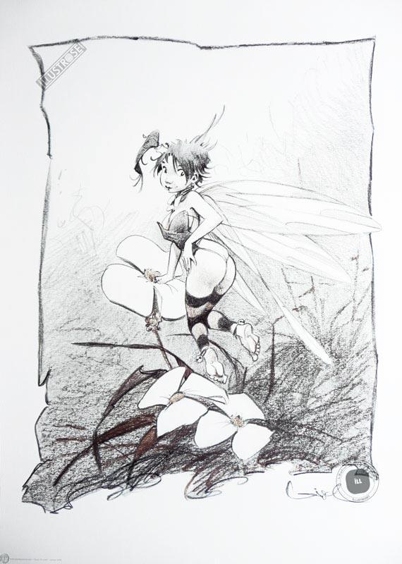 Affiche BD Peter Pan de R.Loisel 'Clochette, fleurs' - Illustrose