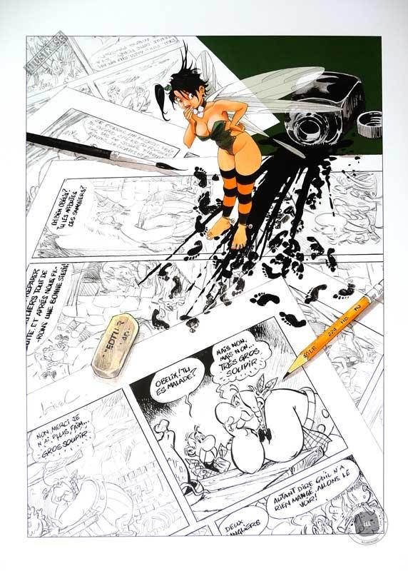 Affiche BD Peter Pan signée, Loisel 'Hommage à Uderzo' - Illustrose