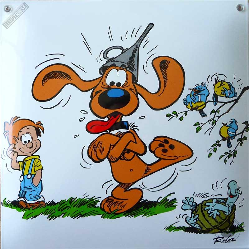 Plaque émaillée sérigraphiée para BD déco Spirou et le Marsupilami 'Turbotraction' de Franquin  - Illustrose