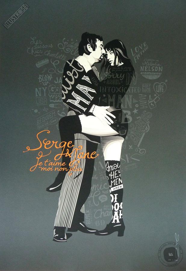 Sérigraphie illustration signée Zig by Dezzig, 'Serge & Jane' - Illustrose