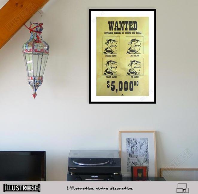 Affiche d'art poster BD Lucky Luke et les Dalton Wanted de Achdé - Illustrose