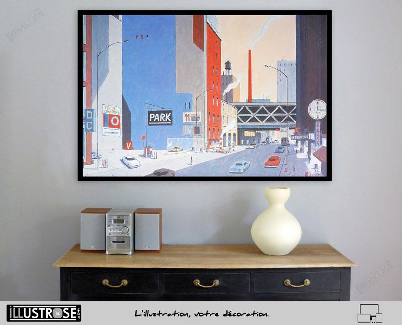 Affiche illustration encadrée signée et numérotée New York 6424 Park François Avril - Illustrose