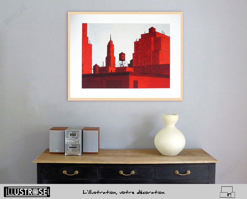 Estampe encadrée, signée et numérotée NYC rouge François Avril - Illustrose