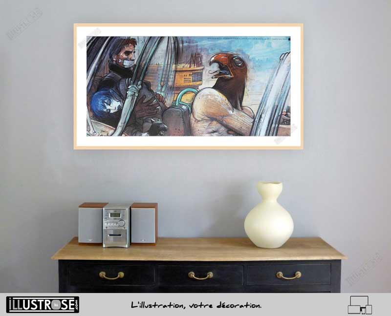 Affiche d'art Jill Horus Nikopol et Gogol le sommeil du Monstre de Enki Bilal - Illustrose