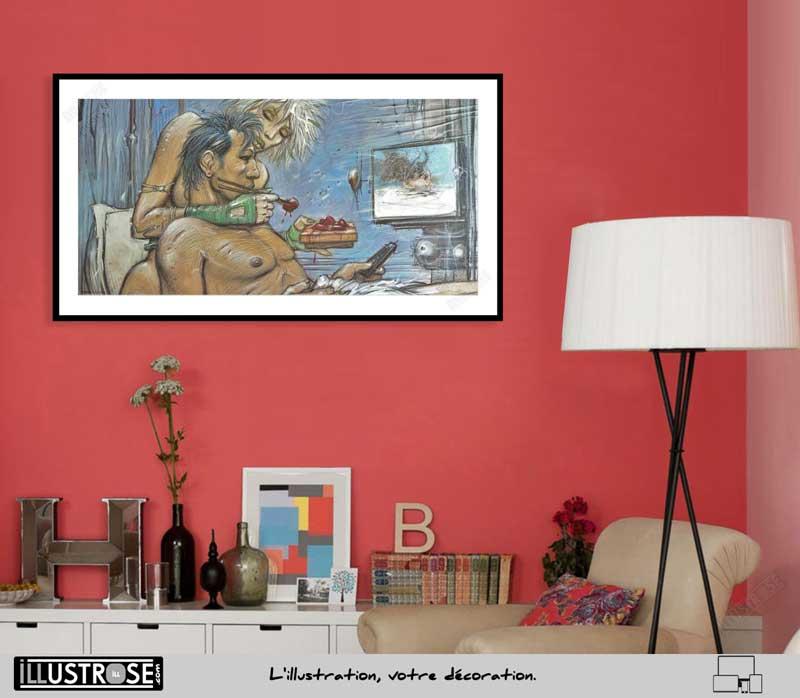 Affiche d'art Sushimi le sommeil du Monstre de Enki Bilal - Illustrose