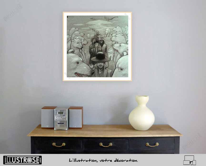 Enki Bilal affiche encadrée animalz pour décoration BD - Illustrose