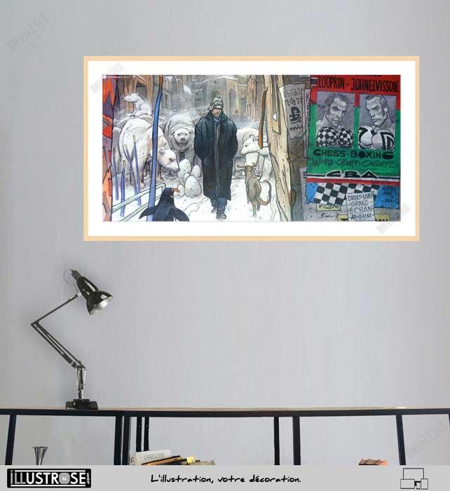 Affiche d'art encadrée Chess boxing de Enki Bilal - Illustrose