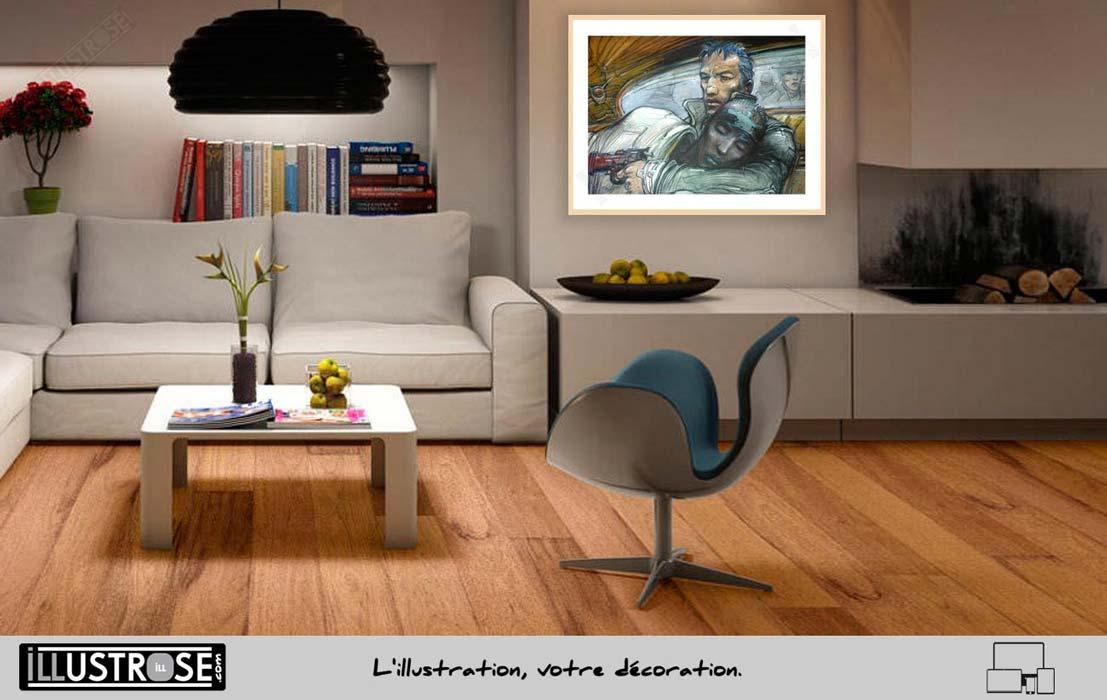 Affiche d'art encadrée le sommeil du monstre de Enki Bilal - Illustrose