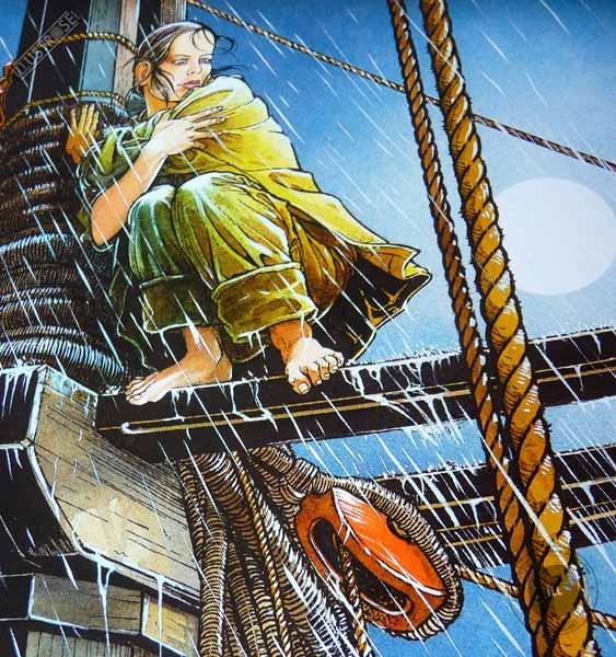Affiche d'art encadrée BD Les passagers du vent La fille sur la dunette de François Bourgeon - Illustrose