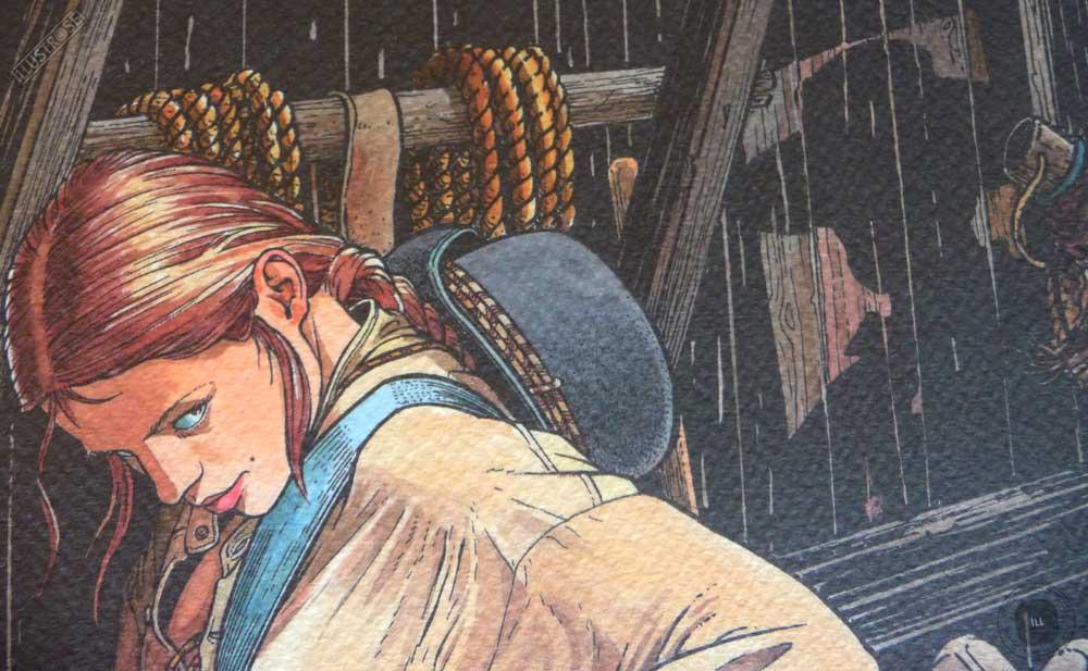 Affiche d'art encadrée BD Les passagers du vent La petite fille bois caiman de François Bourgeon - Illustrose