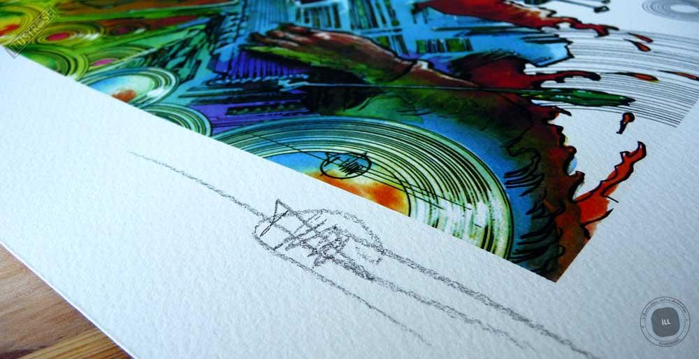 Estampe encadrée, signée et numérotée 'Jimi Hendrix' de Philippe Druillet - Illustrose