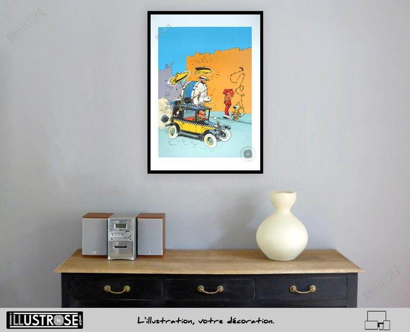 Affiche poster illustration BD signé et encadré André Franquin, 'Gaston Lagaffe, Taxi Fiat' sur papier d'art - Illustrose