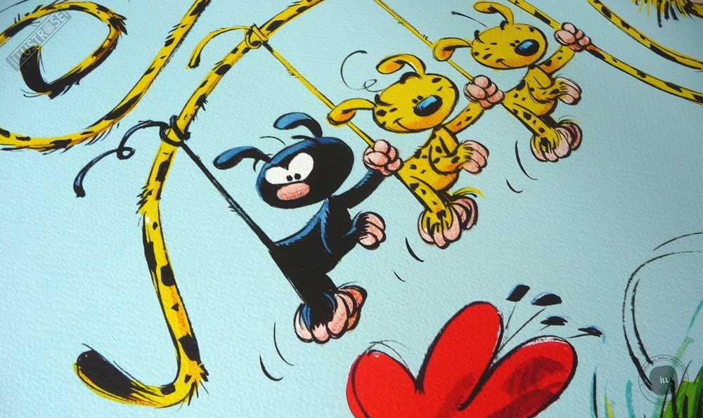 Affiche poster illustration BD signé et encadré André Franquin, 'Le Marsupilami, la famille Marsu' sur papier d'art - Illustrose