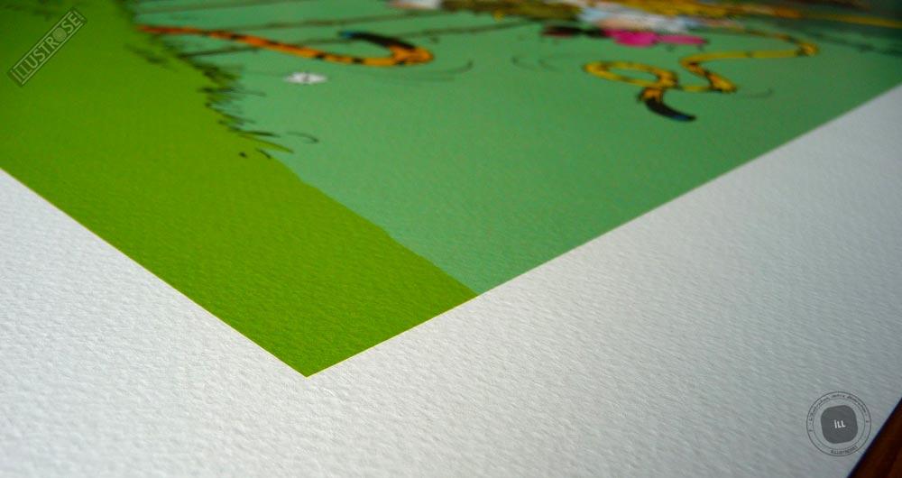 Affiche poster illustration BD signé et encadré André Franquin, 'Le Marsupilami, Le nid du Marsu' sur papier d'art - Illustrose
