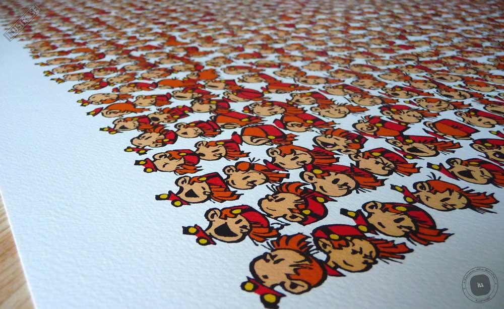 Affiche poster illustration BD signé et encadré André Franquin, 'Spirou, les 1000 têtes' sur papier d'art - Illustrose